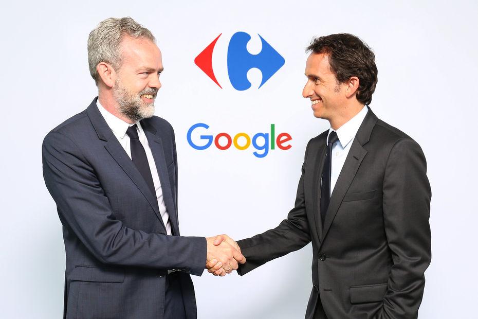 Sébastien Missoffe, vice-président, directeur général de Google France et Alexandre Bompard, PDG de Carrefour