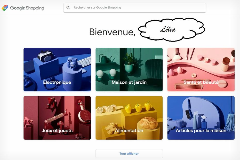 Interface Google Shopping Actions