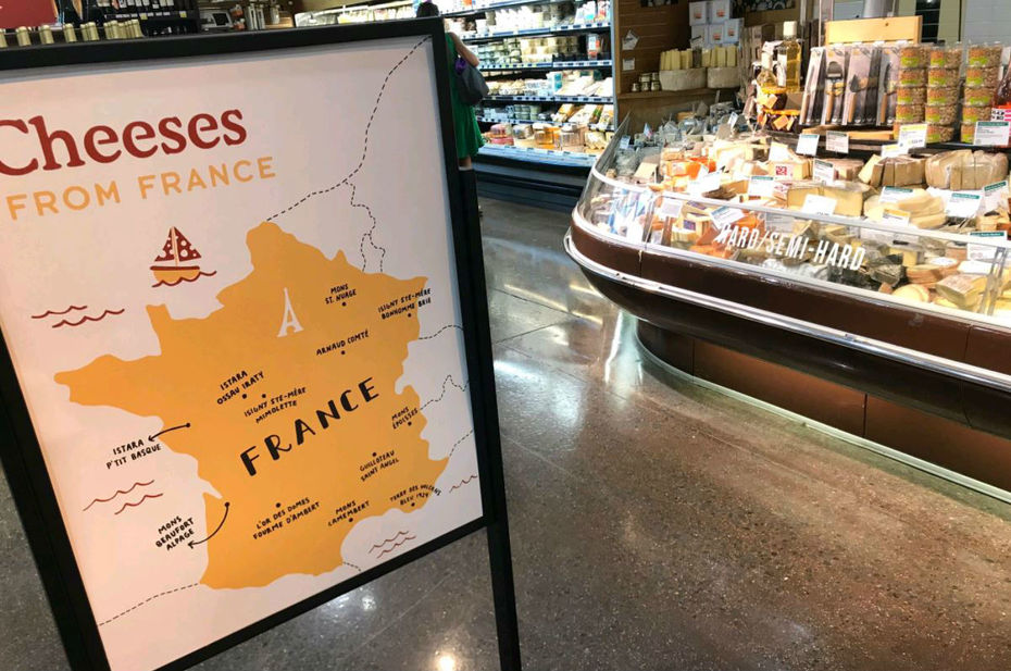 Carte fromages Whole foods