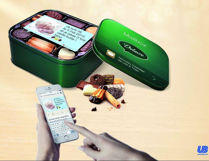 Dossier La marque de biscuit Delacre a mis au point un dispositif digital  qui permet de personnaliser ses boîtes de gâteaux et de les offrir en toute