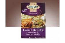 Gratin de ravioles au poulet rôti sauce aux morilles Saint Jean