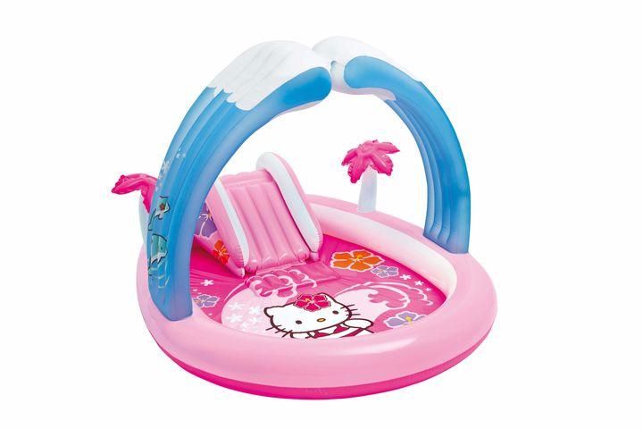 ciblant les enfants de 2 ans laire de jeux 57137np hello kitty dintex comporte un bassin enjamb dune arche bleu azur et est dote dun mini toboggan