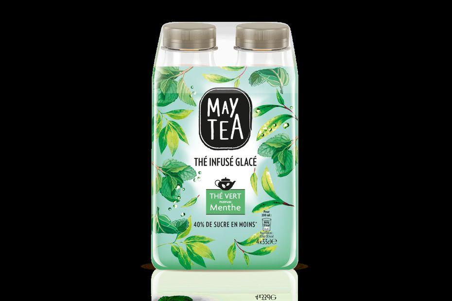 MayTea sera le lancement le plus important pour Orangina Suntory France en 2016. Cela fait deux ans que les équipes travaillent sur ce projet de thé infusé glacé. Ici, la référence de thé vert à la menthe.