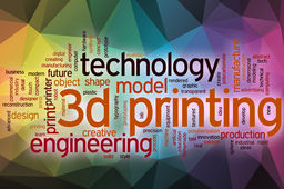 3d printing word cloud concept with abstract background