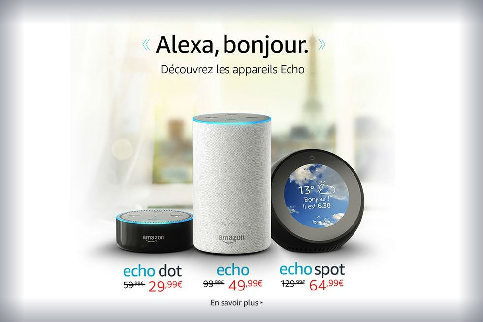 amazon lance en france ses haut parleurs echo. Black Bedroom Furniture Sets. Home Design Ideas