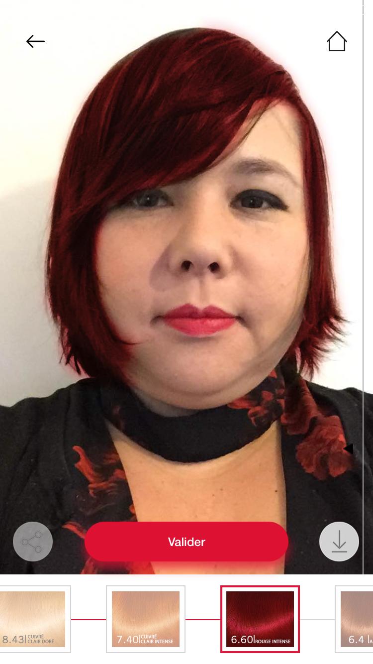 Application photo couleur de cheveux