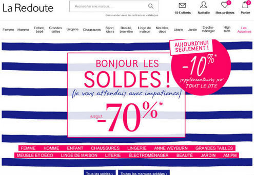 la redoute commence les soldes avec 10 de enqu tes. Black Bedroom Furniture Sets. Home Design Ideas