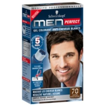 spcialement conu pour les hommes presss mais soucieux de leur apparence le nouveau gel men perfect est un gel colorant qui permet de faire disparaitre - Gel Colorant Cheveux Homme