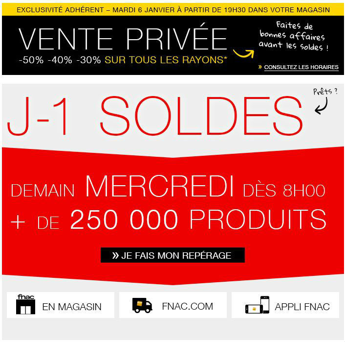 vente privee fnac 5 janvier 2016