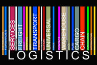 colorful  LOGISTICS text barcode, vector